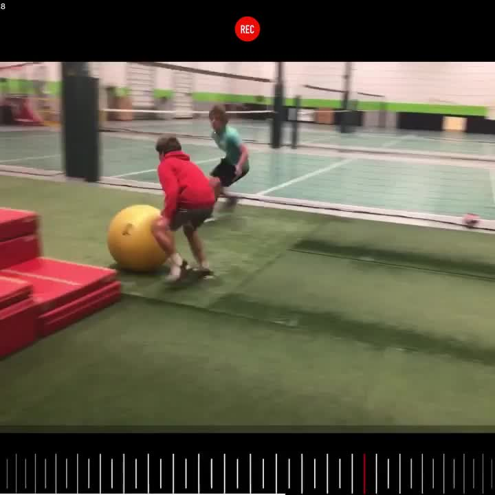 Physio ball drill. stay down